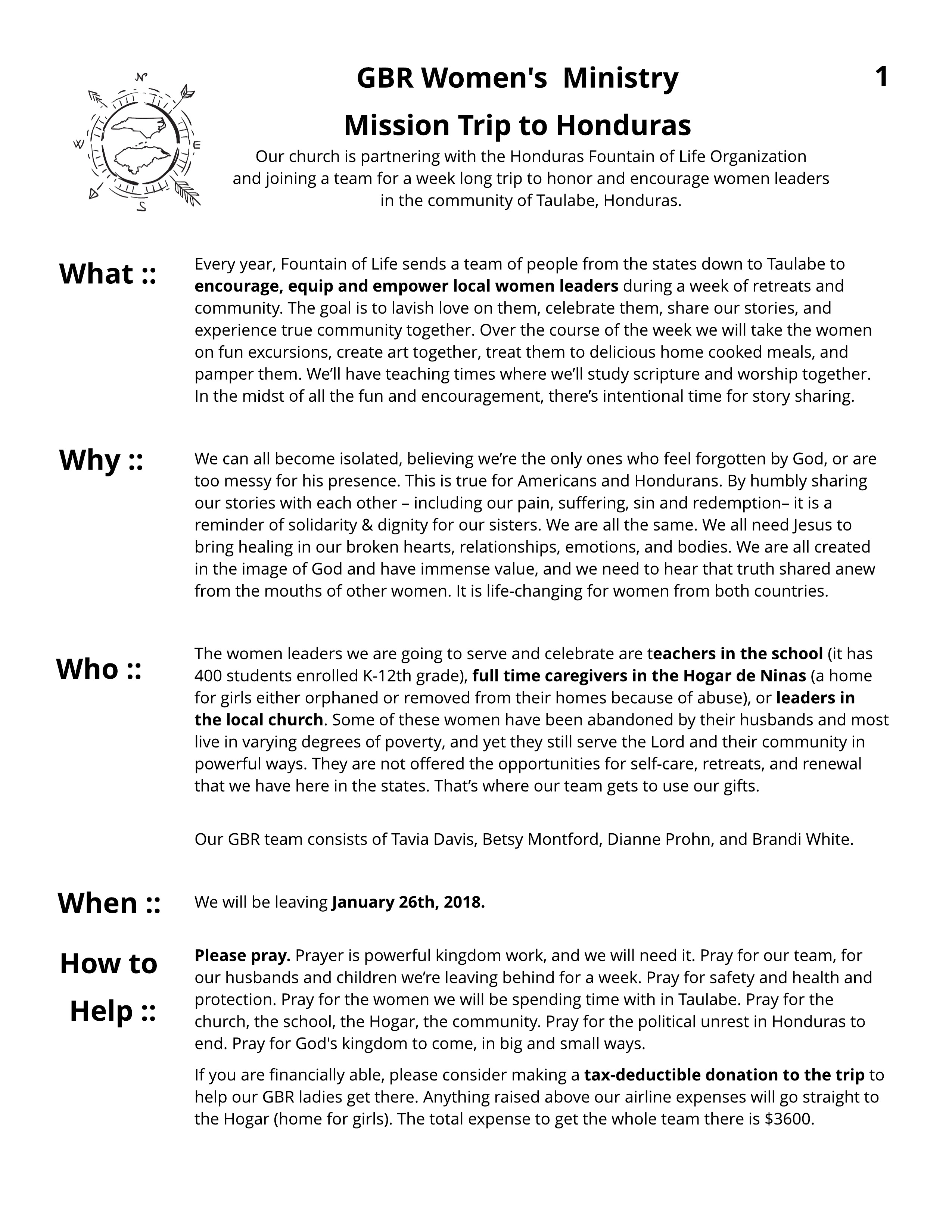 Honduras GBR Handout - Untitled Page